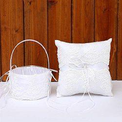 TRUE LOVE GIFT Ring Bearer Pillow and Wedding Flower Girl Basket Set Lace Pearl Rhinestones Sati ...