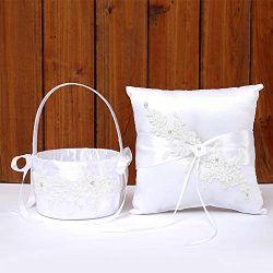 TRUE LOVE GIFT Wedding Bridal Ring Bearer Pillow & Flower Girl Basket Set Lace Flower Weddin ...