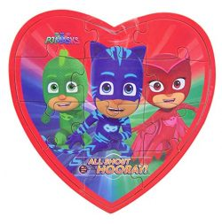 PJ Masks Valentine's Day Jigsaw Puzzle Heart Box with Gummy Candy, 3.17 oz