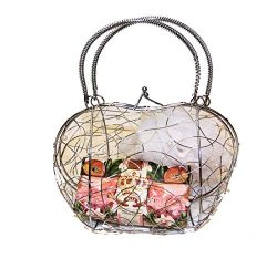 Bath Spa Gift Set Apple Blossom Bar Soap from Italy and Scrubby in a Metal Purse Style Basket