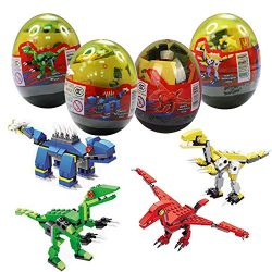 Anditoy 4 Pack Dinosaur Building Blocks in Jumbo Easter Eggs with Toy Inside for Kids Boys Girls ...