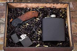 Husband Gifts from Wife – Pocket Knife, Flask & Lighter – Groomsmen Box – Awesome Gift Baske ...