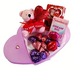 Valentines Day Heart Gift Box, Plush Bear, Chocolate, Sweethearts & Sparkle Heart (Pink Sparkle)