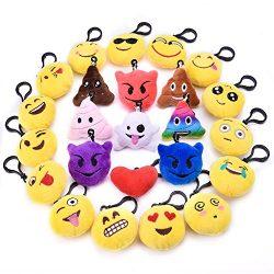 24PCs Emoji Key Chain Mini Plush Pillows Toys for Emoji Party Favors, Emoji Party Decorations, E ...