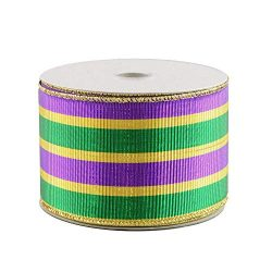Ribbed Mardi Gras Wired Ribbon – 2 1/2″ x 10 Yards, Purple, Green, Gold Stripes, Met ...