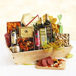 Thank You Gift | Balsamic Vinegar, Olive Oil, Sausage, Cheese Spread, Nuts and Dried Fruit