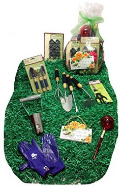 Distinctive Designs Mothers Day Deluxe Gardening Tools Gift Basket Set & Hanging Cocoa Lined ...
