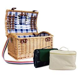 Stretford 4 Person Wicker Picnic Basket Set with Shoulder Strap, Traditional Style Green Blanket ...