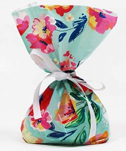Vintage Floral Watercolor Cellophane Treat Party Favor Bags with Grosgrain Ribbon Ties. Pack of  ...