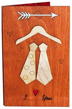 Real Wood Love Greeting Card I Heart You Ties for LGBT Gay Couple Unique Valentines Day Gift Bes ...