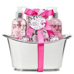 Bath Gift Set for Women Pink Orchids Spa Holiday Basket Bath Bombs Skincare Lotions, Bath Salts, ...