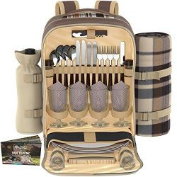 Kitchen Supreme Picnic Backpack Set for 4 | Luxury Gift Collection | Basket Bag with Large Insul ...