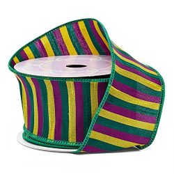 Striped Mardi Gras Wired Ribbon – 2 1/2″ x 10 Yards, Double Faced Purple, Green and  ...