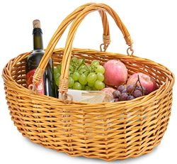 Wicker Basket with Double Folding Handles | Wicker Easter Basket | Storage of Plastic Easter Egg ...