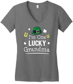 ThisWear Irish Shamrock Clothing for Grandma Apparel St Patricks Day Gifts Lucky Grandma Gifts S ...