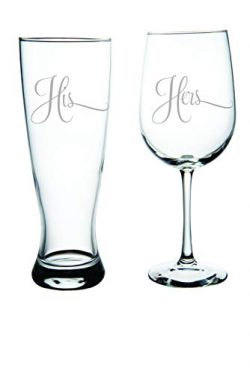 His Pilsner Beer Glass, 23oz. and Hers Wine Glass, 19oz. (set of 2) – Great Couples Gift.