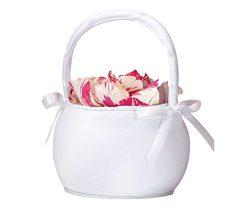 Lillian Rose 7″ Plain White Satin Round Flower Basket