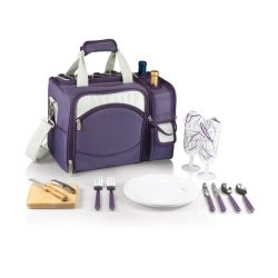 Picnic Time Malibu Insulated Aviano Collection Picnic Tote with Service for 2, Muted Purple