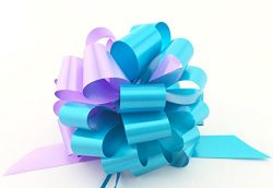 Bridal Shower Decor Pull Bows – 6″ Wide, Set of 6, Turquoise & Lavender, Baby Ge ...