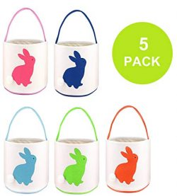 TONOS Easter Basket Easter Egg Hunts Party Bag for Kids Candy Bag Easter Egg Basket Bucket Bunny ...