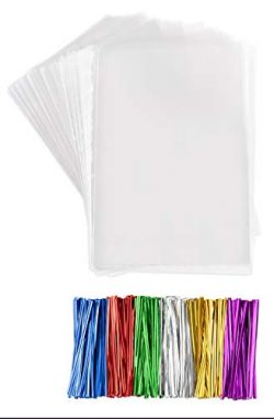 Clear Plastic Cellophane Bags With twist ties Cello Bags For Candies Nuts Small Gifts (200, 4 ...