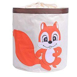 Injoy Large Cotton Storage Bin,17″(Dia.) x 18″(H), Collapsible Round Organizer Waterproof Gift B ...
