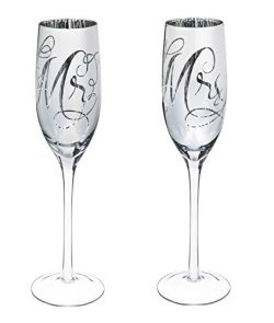 Cypress Home Hand-Detailed Silver Mercury Mirror Wedding Champagne Flutes, Mr. and Mrs., 8 oz, S ...