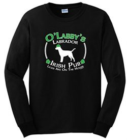 Dog Owner Gifts St Patricks Day Dog Labrador Lab Irish Pub Sign Long Sleeve T-Shirt 2XL Black