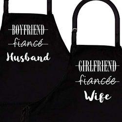Husband & Wife | 2-Piece Kitchen Apron Set | Matching Engagement Wedding Anniversary Bridal  ...