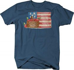 Red Apples in Basket in Front American Flag Merica USA Freedom Tshirt – Medium