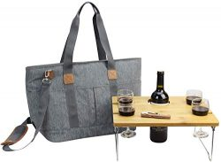 Picnic Basket Tote Set with Table | Picnic Shoulder Bag Set | Stylish All-in-One Portable Set |  ...