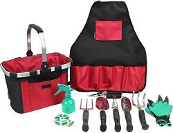 INNO STAGE Garden Hand Tools Set with Gardening Apron and Foldable Basket Bag – Great Kit  ...