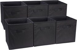 AmazonBasics Foldable Storage Cubes – 6-Pack, Black