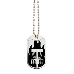 CafePress – Fireball Basket Black – Military Style Dog Tag, Stainless Steel with Chain