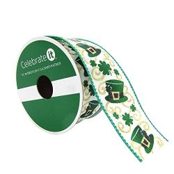 Taffeta Wired Edge Happy St. Patrick's Day Ribbon with Hats & Shamrocks 1.5″ x 9 ...