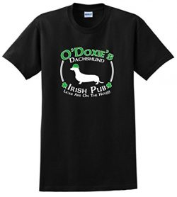 Dog Owner Gifts St Patricks Day Dog Dachshund Doxie Irish Pub Sign T-Shirt 2XL Black