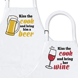 Kiss The Cook  2-Piece Kitchen Apron Set | Matching Engagement Wedding Anniversary Bridal Shower ...