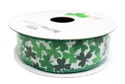 St. Patrick's Day Green Shamrocks Holiday Gift Crafting Ribbon 7/8″ x 9′