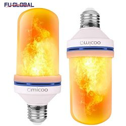 Omicoo LED Flame Effect Light Bulb(2 Pack), 4 Modes Flame Light Bulbs with Gravity Sensor, E26/2 ...