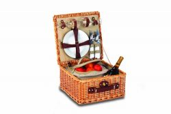 Picnic Plus Baxter 2 Person Picnic Basket Willow Picnic Basket With Insulated Cooler And Two Cer ...