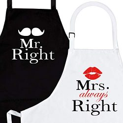 Mr. Right and Mrs. Always Right 2-Piece Kitchen Apron Set – Matching Engagement Wedding An ...