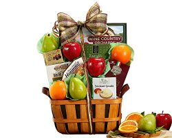 Wine Country Classic Harvest Fruit and Favorites Gift Basket. Includes Delicious Apples, Oranges ...