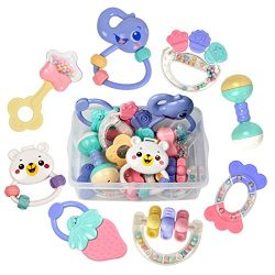 TUMAMA Baby Rattles Teether Toys, Infant Shaking Bell Rattle Set with Storage Box BPA Free Toys  ...