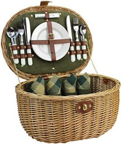 Willow Picnic Basket with Service Set for 2 Persons, Natural Safe Wicker Hamper with Insulated C ...