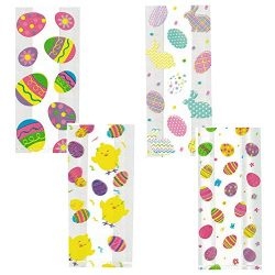 Easter Cello Treat Bags – 4 Assorted Styles Featuring Eggs Chicks and Bunny for Party Favo ...