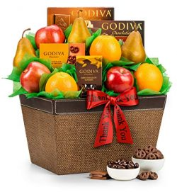 GiftTree Thank You Fresh Fruit and Godiva Chocolates Gift Basket| Includes Gourmet Chocolates an ...