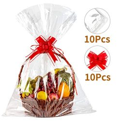 Geniusus 30″x40″Clear Basket Bags Clear Cellophane Wrap for Baskets and Gifts with G ...