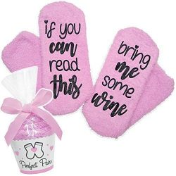 If You Can Read This Bring Me Some Wine Socks – Perfect Pairs – Comfortable Fuzzy Gi ...
