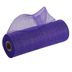 Purple Deco Mesh Wreath Decor – 10″ x 10 Yards, Decorative Ribbon Roll, Mardi Gras,  ...