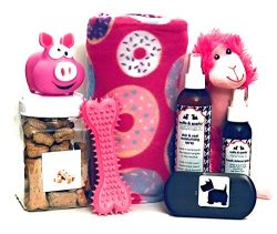 Wolfe & Sparky's Deluxe Pink Dog Gift Set Includes a Classy Dog Blanket, 2 Bottles of  ...